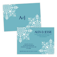 Personalised engagement party invitations VINTAGE FLORAL TEAL WHITE FREE ENVELOP