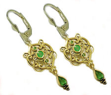 E104 Genuine 9ct SOLID Gold NATURAL Emerald Drop Dangle Earrings Lever-Back