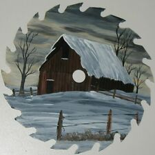 """Primitive Barn Winter Landscape Painting on Saw Blade Hand Painted 5 7/8"""""""