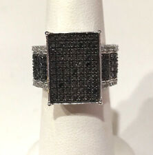 2 Ct. PLATINUM BLACK DIAMOND RING STERLING SILVER .925 SIZE 7 MSRP $3289