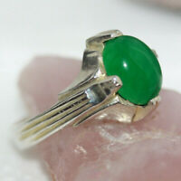 Natural 3CT Cab Green Onyx 925 Sterling Silver Islamic Men's Ring Band Sz 7.5