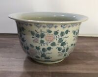 Asian Porcelain Ceramic Planter Floral Design White Blue Pink Green Vintage