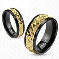 Titanium w/ Black Finish & 14K Gold Mens Womens His Hers Wedding Band Ring