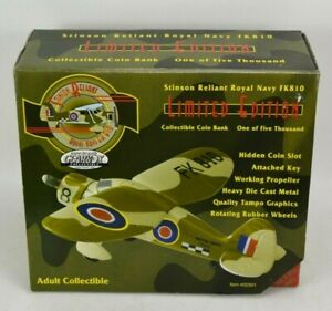 Stinson Reliant Royal Navy FK810 Plane Coin Bank Collectible Gearbox