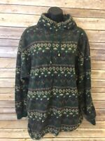 SOSTANZA Pullover Jacket Size XL Women Green Vintage 1/4 Long Sleeve Funnel neck