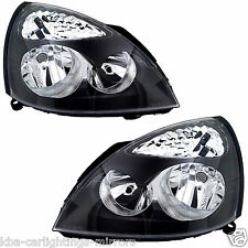 Renault Clio Mk2 2001-2005 Headlights / Headlamps Black 1 Pair O/S & N/S