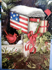 "Large Patriotic Holiday Christmas Snowy Mailbox Redbird Porch Flag (28"" x 40"")"