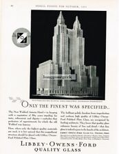 1931 Libbey Owens Ford Plate Glass New Waldorf Astoria NYC Vtg Print Ad