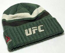 UFC Reebok MMA Toque Knit Cuffed Olive Green Brown Hoody Skully Beanie Hat Cap