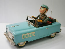 Vintage Amazing 50's Battery Tin Toy Rendorseg Foreign Mistery Police Car Works