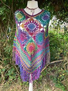 Bohemian Lagenlook Rainbow Crochet Poncho Hippie 12-14-16-18 New