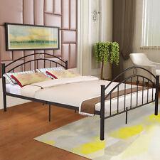 Black Queen Size Metal Bed Frame Mattress Platform Headboard Bedroom Furniture