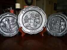 New listing Vintage 1973 Sexton Pewter Wall Hanging Plates Set Of 3