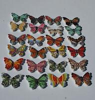 5 Mixed WOODEN BUTTERFLY BUTTONS craft embellishments scrap booking Butterflies