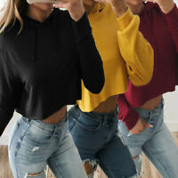 Women Long Sleeve Hooded Casual Spring Loose Sweatershirts Pullover Coats Tops