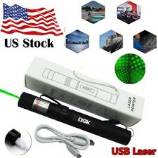 990Mile 303 Green Laser Pointer Pen Rechargeable 532nm Visible Beam Star Cap+Usb