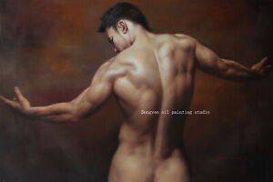 "Art prints canvas transfer from oil painting male nudes men torso back 24""x36"""