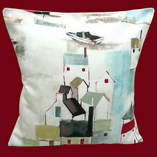 """SHABBY CHIC ST IVES SCENE HOUSES BOATS OFF WHITE COTTON 16"""" Pillow Cushion Cover"""