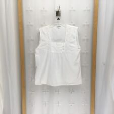 Victorian Classics Women's Embroidered Sleeveless Top White Size Xl