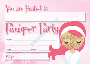 #22 PAMPER PARTY Pack of 10 kids children birthday party INVITATIONS