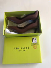 Ladies New Ted Baker Brown Leather Court Shoes UK6/EU39