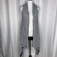 Vertigo Striped Drape Open Front Sweater Vest Sz Lg ($240.00 Retail)