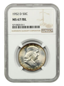 1952-D 50c NGC MS67 FBL - Franklin Half Dollar - Tied for Finest Known!
