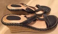 Born Black Leather Wedge Platform Gladiator Braided Rope Sole San