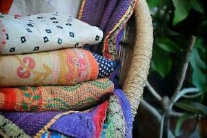 Lot Of 20 Pc Kantha Quilt Cotton Handmade Floral Reversible Vintage Bedding