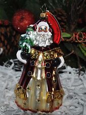 NEW RADKO HOLY DREAMER Glass Ornament Santa Church Green Jewelry Crystals