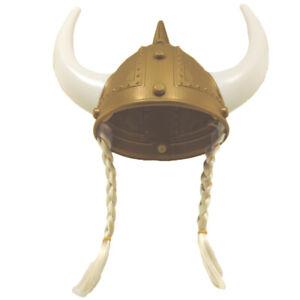 Adult Viking Helmet Gold With Blonde Braids & Horns