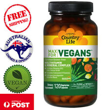 Country Life Max for Vegans Multivitamin & Mineral Complex 120 Gluten free Caps