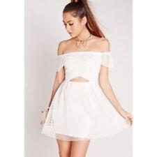 NWOT MISSGUIDED SQUARE LACE CUT-OUT BANDEAU DRESS WHITE SZ US 0  UK 4