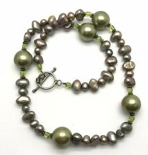 Vintage Oxidized Sterling Silver Handcrafted Beaded Peridot Disk Pearls Necklace