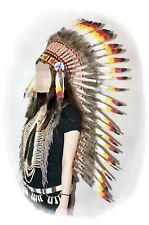 Indianer Federhaube XL Kopfschmuck WEISSE Federn ca. 110 cm. schwarz-rot-gelb