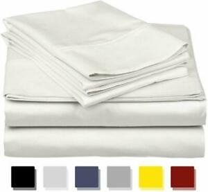 600-Thread-Count Best 100% Egyptian Cotton Sheets  Pillowcases Set - 4 Pc White