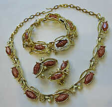 Necklace, Bracelet, Clip-on Earrings Parure/Set--pink tone stones and gold tone