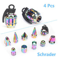 4x Neo Chrome Grenade Wheel Tyre Valve Metal Dust Caps for Car Bike Motorcycle