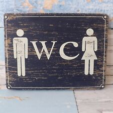 Rustic Nautical Beach Blue Wooden Plaque Ladies & Gents WC Toilet Loo Sign