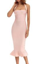 Herve Leger Bodycon Bandage Cocktail Dress Halter Pink Midi C143 *M