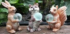 Wildlife Gazing Balls set/3 Rabbit Raccoon Squirrel Ws 2079 Miniature Garden