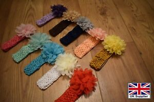 Headband and Flower Set Baby Girls Crochet Soft Stretchy Hairbands 4 cm Wide