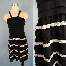 LEIFSDOTTIR Anthropologie Stretch Knit Black White Pleat Tiered Ruffle Dress S