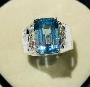 Natural Blue Topaz Gemstone with 925 Sterling Silver Ring for Men's #3486