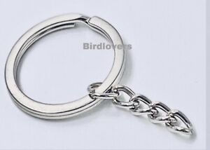 PREMIUM SPLIT RING WITH CHAIN 30MM BLANKS KEYRING METAL LINK CHAIN VARIOUS QTY