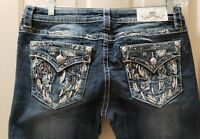 "Miss Me Signature Boot Denim Jeans. Size 31X 33 Rise 9"" Waist Flat 17=34X33"