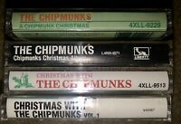 LOT OF 4 CHRISTMAS WITH THE CHIPMUNKS  CASSETTE TAPES 4 DIFFERENT COVERS LOOK!!