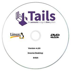 Tails 4.20 LIVE Bootable Encrypted Internet Browser TOR Secure Linux DVD Disc