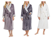 NEW Carole Hochman Ladies Plush Wrap Robe - PURPLE / GREY / IVORY