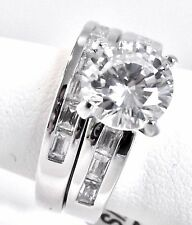 Wedding Ring Set Bridal Engagement Stainless Steel Rhodium 6.00 Ct CZ Size 7 I10
